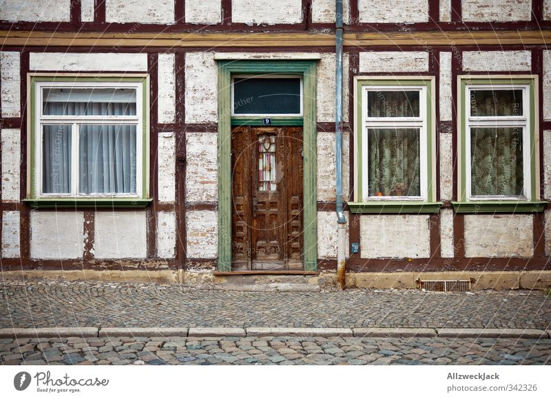 Old Loneliness House (Residential Structure) Architecture Facade Retro Village Trashy Uninhabited GDR Curtain Vintage Old town East Harz Thuringia