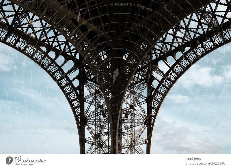 Symmetrical view Eiffel Tower Pillar Paris eiffel tower detail structure lace panties Sky Tourism vacation city trip Colour photo France Landmark voyage