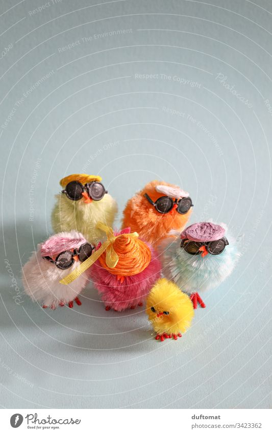 Easter, Colourful group of decorative chickens with cool sunglasses fowls Easter egg Easter Bunny Easter egg nest Nest Tradition Spring Sunglasses Cool chicks