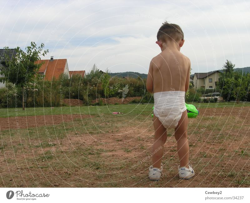 Child Man Summer Boy (child) Playing Garden Back Nappy Water pistol