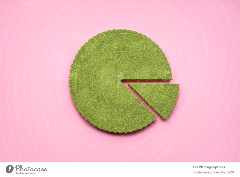 Matcha cheesecake on pink background. Single slice of cake above view cheesecake tart colorful confectionery creamy delicious dessert flat lay food green
