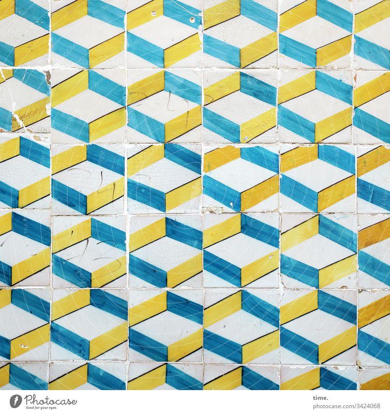 Lisbon triad Life Fresh vivacious Joie de vivre (Vitality) zest for life Wall (building) Wall (barrier) Colour Crack & Rip & Tear bailer variegated Yellow Blue