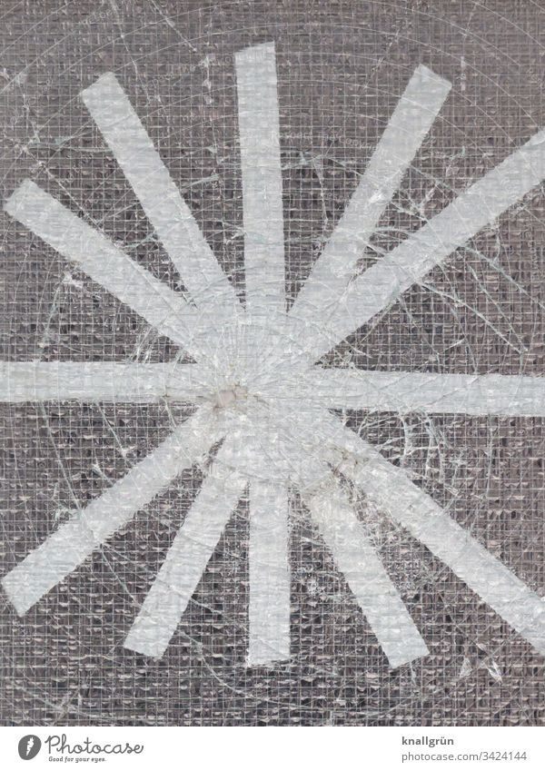 Hole in a wire glass pane taped with white adhesive tape in a star shape Hollow Slice Broken Adhesive tape Stars Wire glass door Pattern Structures and shapes