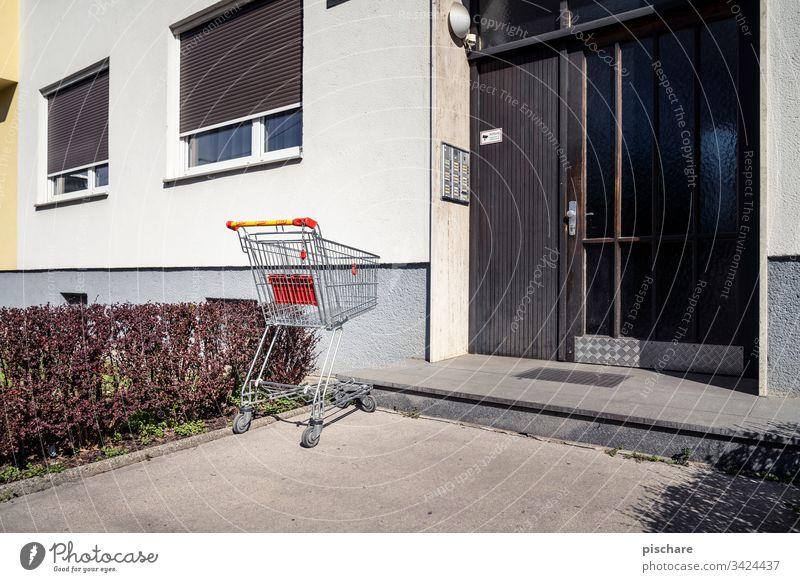Shopping trolleys at your front door Shopping Trolley coronavirus pandemic Apocalyptic sentiment Facade