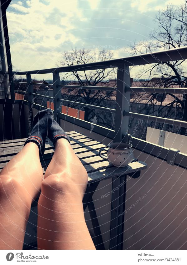 Sunbathing on the balcony by the Home Office Balcony sunshine Coffee Cup Legs Table tan Goof off rest Break Comfortable To enjoy naked legs socks Coffee break
