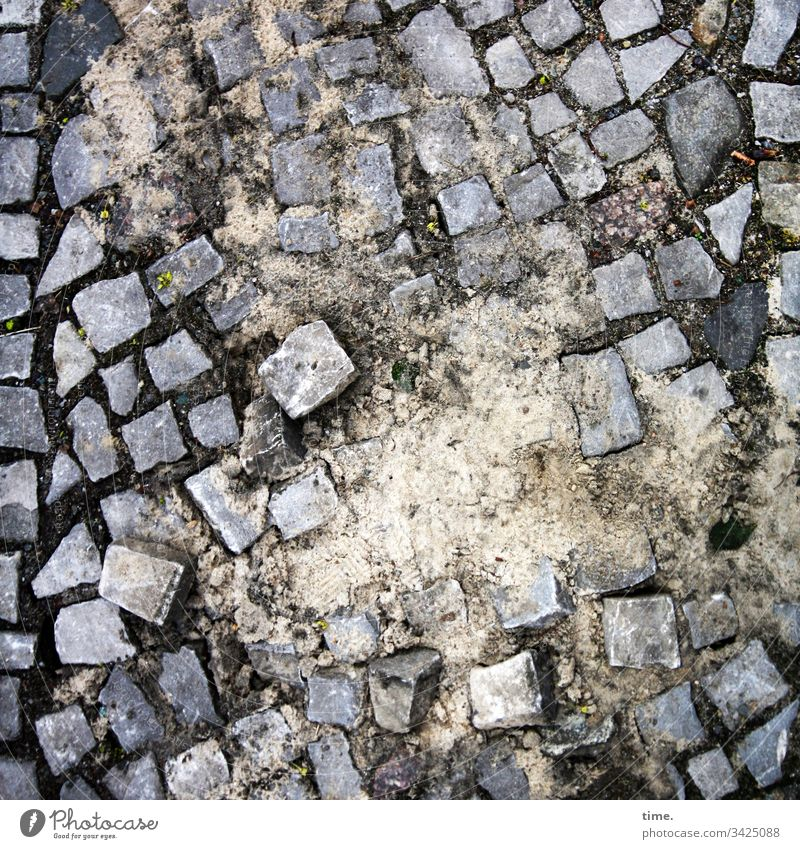 carpeting Street daylight Places Perspective stones paving stone vivacious blotchy urban Construction site Sand work unfinished disorder Muddled