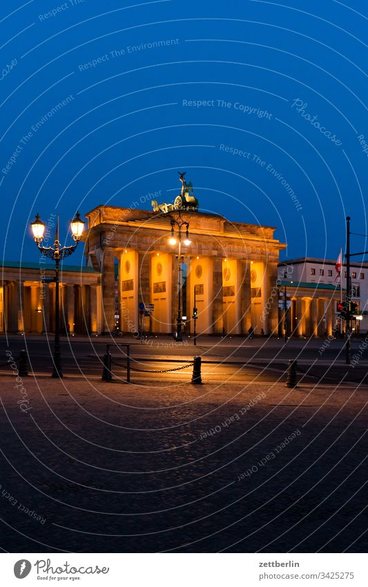 Brandenburg Gate in the evening Evening Berlin Dark Twilight Capital city Sky Classicism langhans Quadriga Column Landmark Places Deserted Copy Space