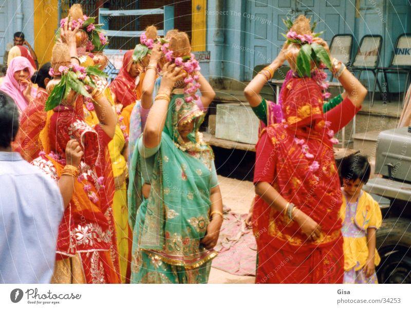 Woman Colour Wedding India Costume Vail Packaged Headdress Sari