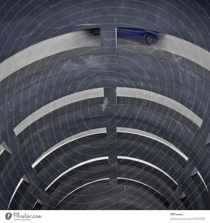 Blue Movement Gray Car Transport Tall Driving Traffic infrastructure Pipe Rotate Vehicle Tunnel Downward Passenger traffic Means of transport Parking garage