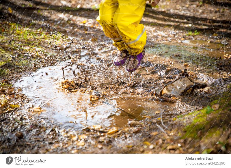 Cute little girl jumping in muddy puddle wearing yellow rubber overalls. Happy childhood. Sunny autumn forest adorable boot candid cute dirty drop fall fun