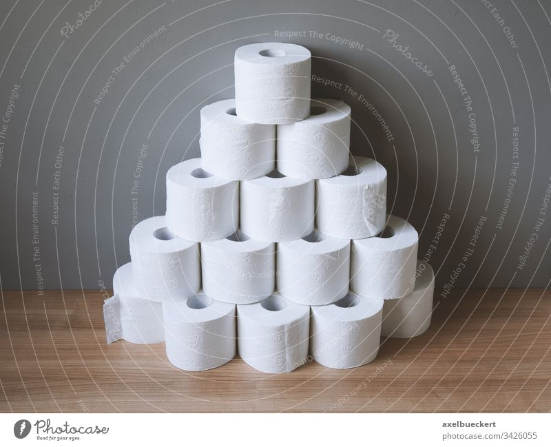 stacked and hoarded of toilet paper rolls many panic buying hygiene bathroom tissue stockpile TP supply loo personal hygiene shortage toiletpaper corona virus