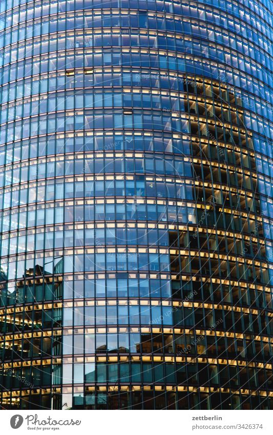 glass façade Evening Architecture Berlin Office city Germany Twilight Worm's-eye view Capital city House (Residential Structure) Sky High-rise downtown Middle
