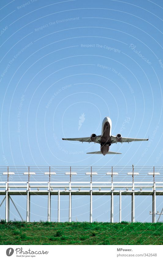 Vacation & Travel Blue Green Transport Aviation Airplane Airplane takeoff Cloudless sky Traffic infrastructure Airplane landing Airport Passenger traffic