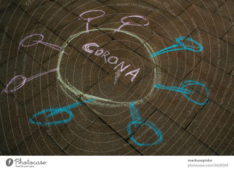 Symbolic chalk painting CORONA Virus Alarm Dangerous Corona virus coronavirus coronavirus SARS-CoV-2 corona crisis symbolic Chalk drawing Letters (alphabet)