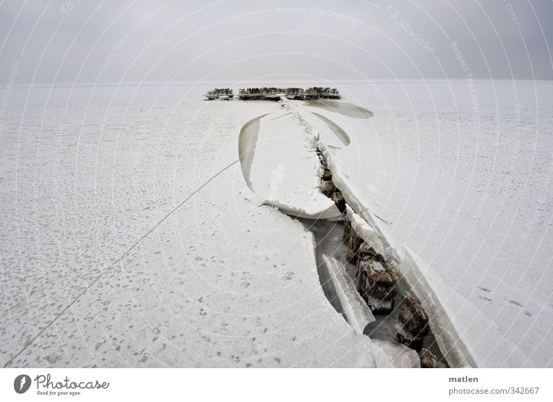 the rumor Landscape Sky Clouds Winter Climate Weather Bad weather Snow Coast Beach Ocean Deserted Brown White ice floes Tracks Wooden stake Colour photo