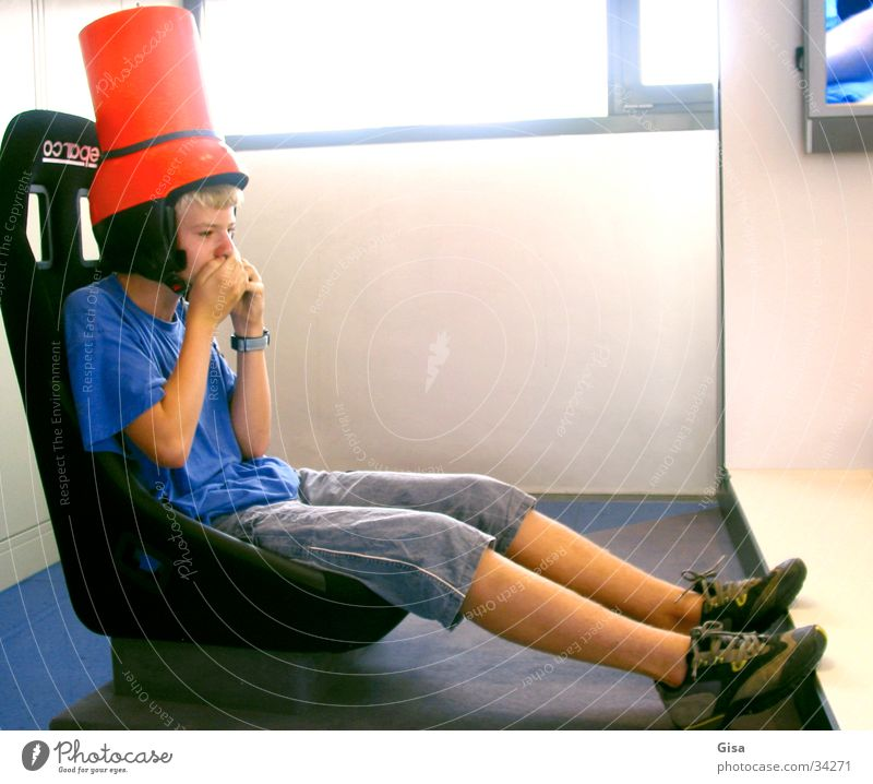 Child Man Joy Playing Boy (child) Seating Helmet Armchair Bucket Tub