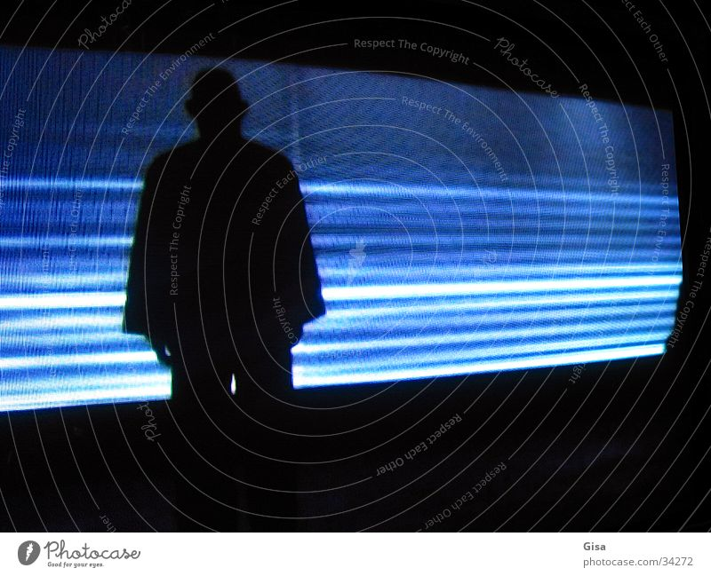 shadow man Performance art Man Stripe Light Dark Black video projection Shadow Blue