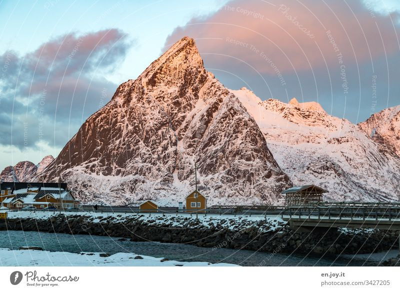 "Small yellow house by the fjord in front of snow-covered mountains sacrisoy Lofoten,"" Lofoten Islands Fence Yellow Travel photography Detached house Idyll"