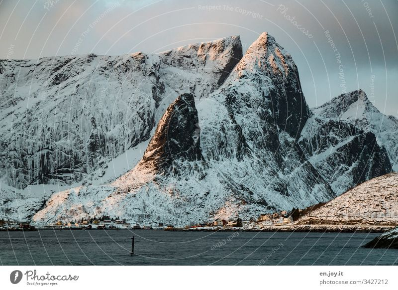 """Fishing village on the fjord in front of a snowy mountain sacrisoy Lofoten,"""" Lofoten Islands Travel photography Idyll Reinefjorden Water Fjord Tourism seascape"""