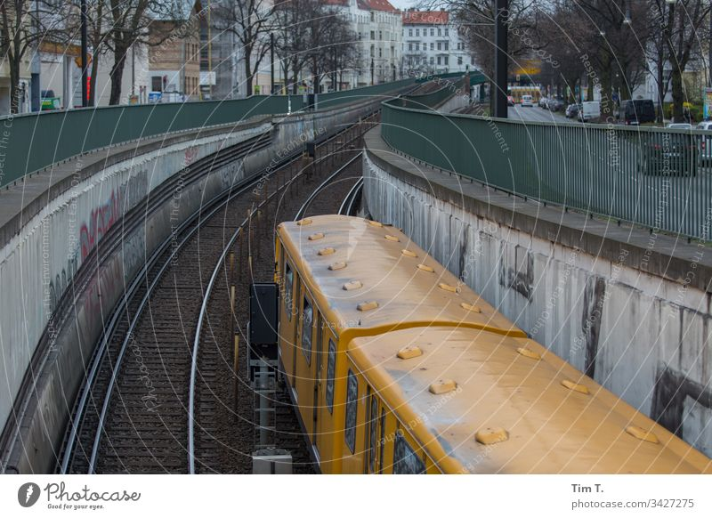 railway Berlin Pankow subway line U2 Deserted Exterior shot Downtown Capital city Old town Colour photo Town Day