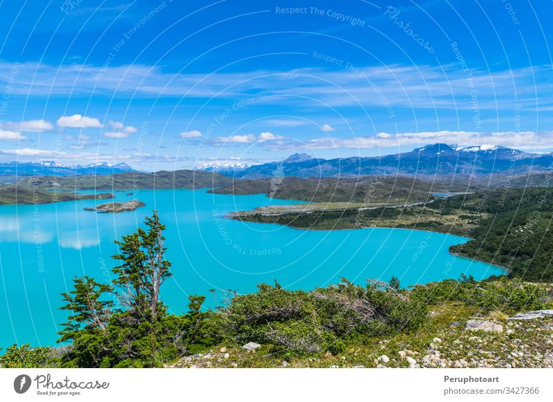 Landscape view from the Nimez lagoon in Calafate, in Patagonia, Argentina landscape nimez patagonia argentina beautiful water travel el calafate reserve road