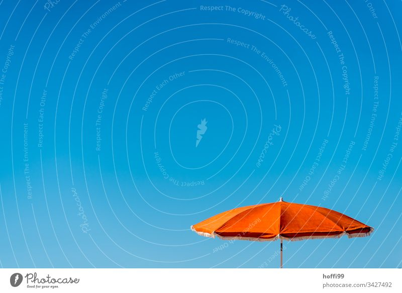 orange parasol with blue sky Sunshade Blue sky Orange-red Cloudless sky minimalism Minimalistic Summer Beach Vacation & Travel Vacation mood Shadow Sunbathing