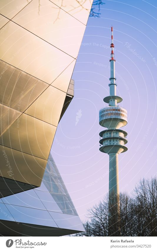 Olympic Tower and BMW World in Munich Television tower Exterior shot Architecture Landmark Town Deserted Sky Day Tourist Attraction Manmade structures Tall