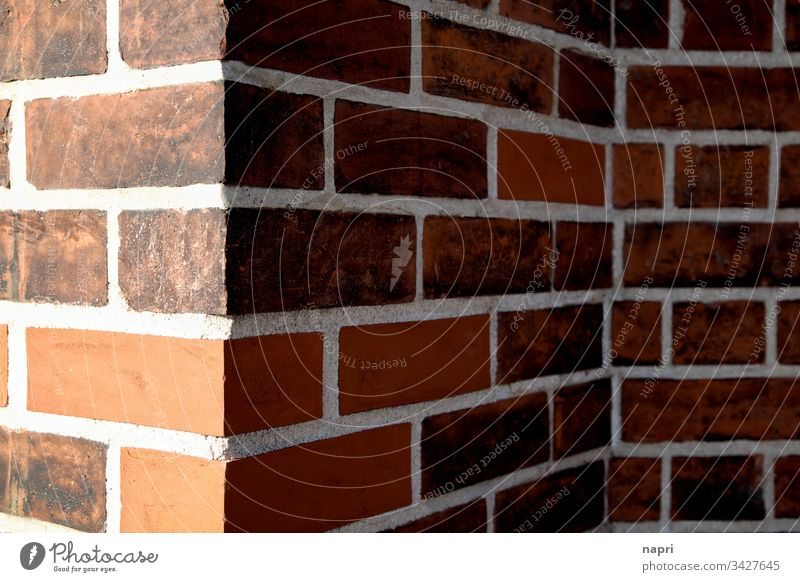 rough edges Corner Wall (barrier) Facade Red bricks Building House (Residential Structure) Wall (building) lines Light and shadow geometric Repaired Old New