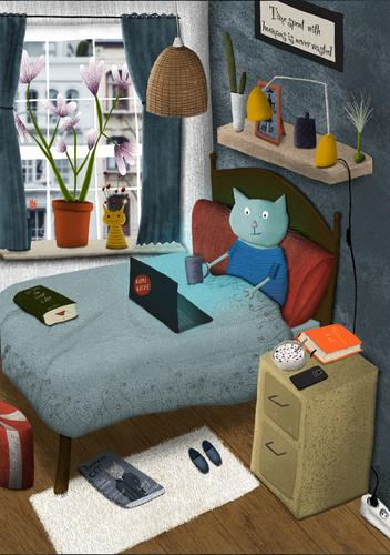 Illustrated cat sits in bed and looks at her laptop illustration Bed Cat Cute home office at home Tea Information Wireless Coffee Bedroom web technology