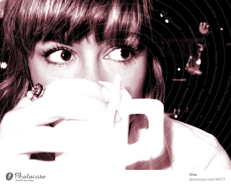 Coffee Paulina Woman Hand Beverage Cup Drinking Beautiful Night Face Eyes