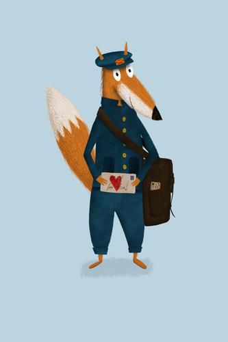 Illustrated fox as postman would have love letter in hand illustration Fox Cute Love letter Drawing Postman for children Illustration Art Copy Space Blue