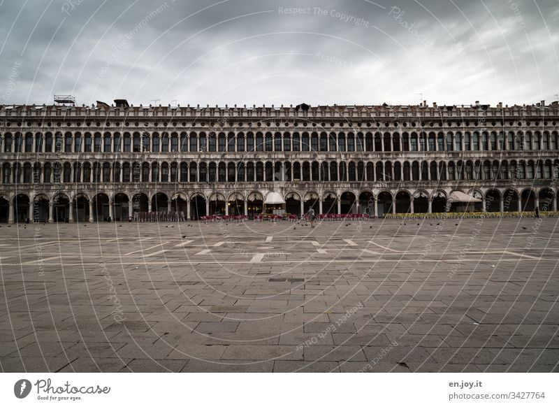 Corona thougths | Empty St Mark's Square in Venice Europe public square Crisis Bad weather Clouds Building void output lock corona crisis Tourism voyage Arcade