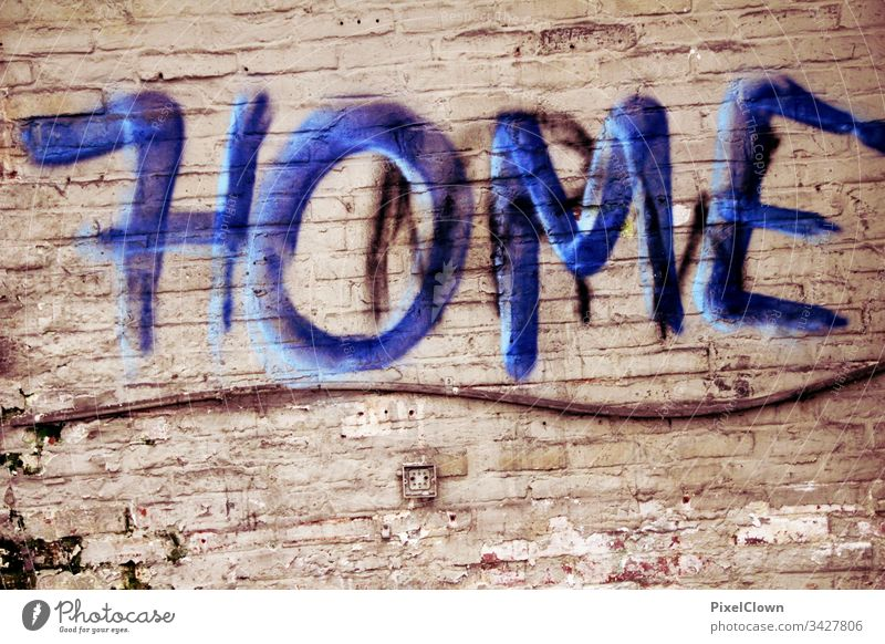 Stay Home Graffiti Wall (barrier) Wall (building) Colour photo Design, Art strret style coronavirus Deserted Facade Abstract