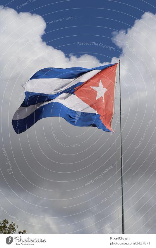 Cuban flag Vacation & Travel Deserted Havana Travel photography Blue sky flagpole Sightseeing Vacation mood Island