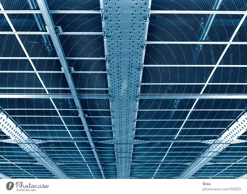 Bridge blue Construction Iron Skeleton Grid Metal Rivet bottom Structures and shapes Line