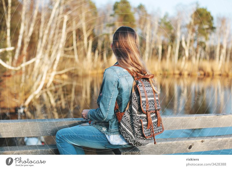 forest child portrait Girl Hiking Forest Sit relax Observe Nature Lake Spring long hairs Free
