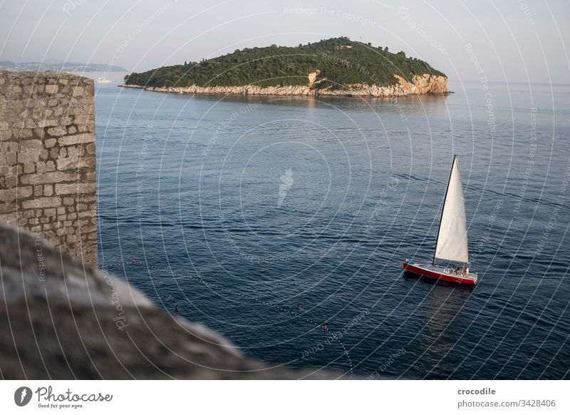 Dubrovnik Old Town Sailboat Sailing Croatia Tourism Old town Wall (barrier) Fortress Ocean Coast World heritage houses Mediterranean Island