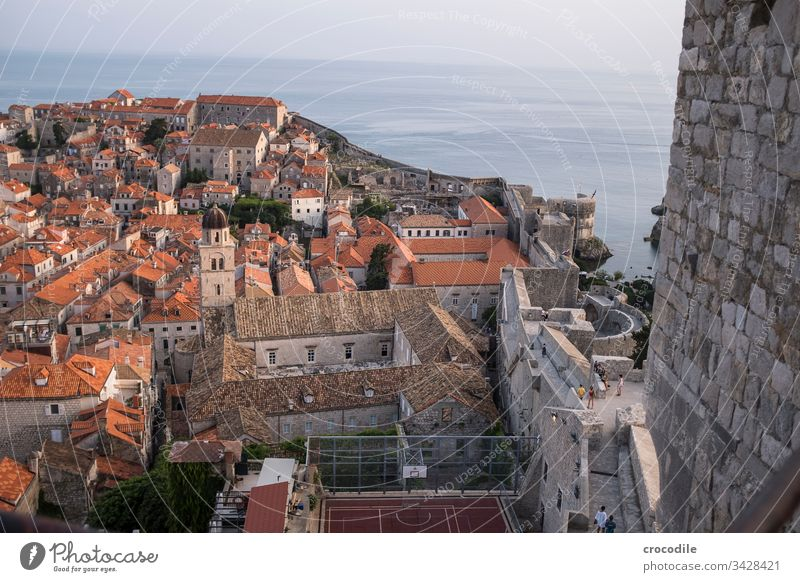 Dubrovnik Old Town Croatia Tourism Old town Wall (barrier) Fortress Basketball Ocean Coast World heritage
