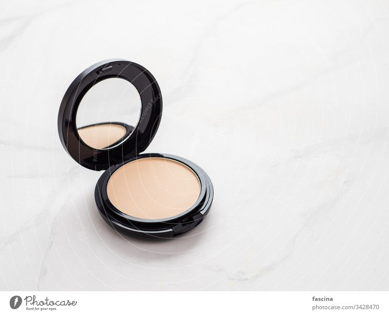 Compact powder on white marble, copy room compact powder Copy Space Luxury Powder elegance make-up Elegant Marble White luxurious Cosmetics Foundations