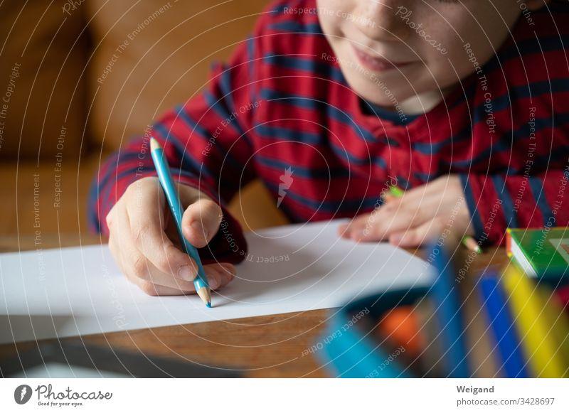 homeschooling upbringing School Elementary school Write Boy (child) Corona virus corona Homeschooling pen Painting (action, artwork) Education Kindergarten