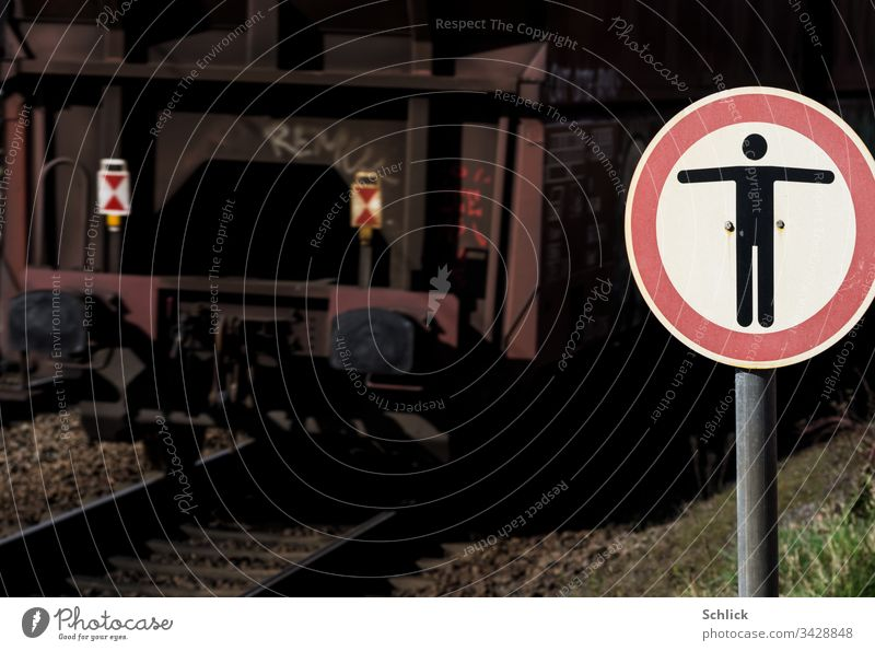 Prohibition sign Icarus must not fly over the tracks too closely! interdiction Railroad tracks rails Train symbol forbidden peril Barred esteem no retreats Icon