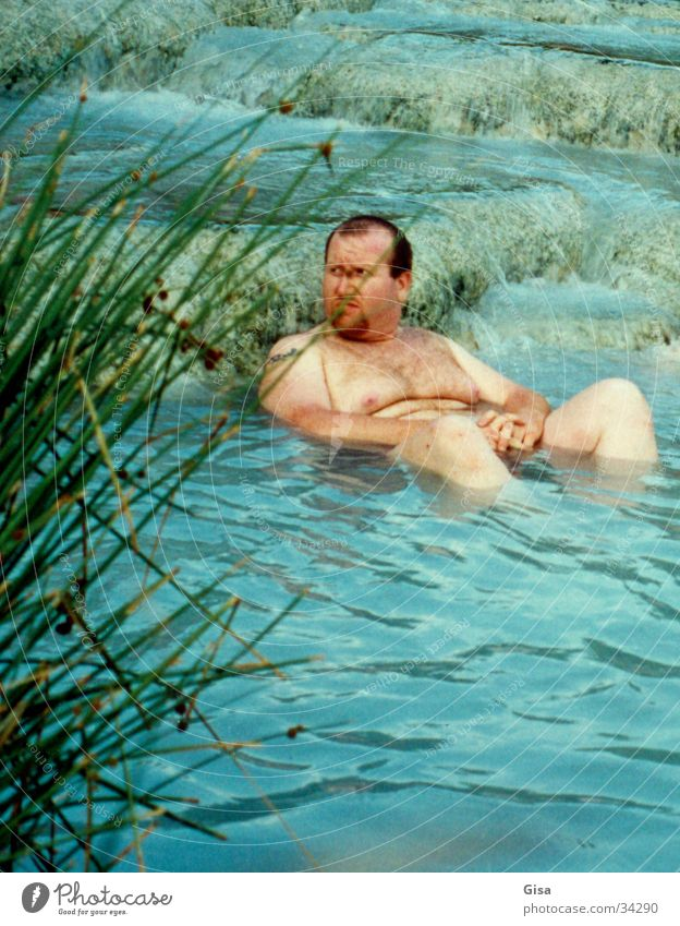 Let's take a bath! Man Naked Fat Italy Swimming & Bathing sulphur bath Water Summer Overweight