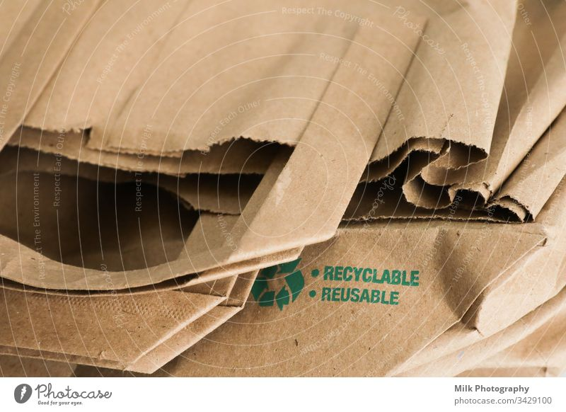 Reusable and recyclable paper bag Close-up takeaway Single Sale sack Retail sector Recycling recycle purchase Open Merchandise disposable Ecological Delivery