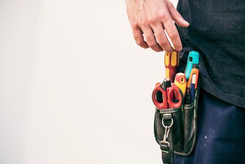 Tools belt in real worker tool handyman entrepeneur waist sicssors body parts real people entrepreneur repairing realistic installing professional mechanic