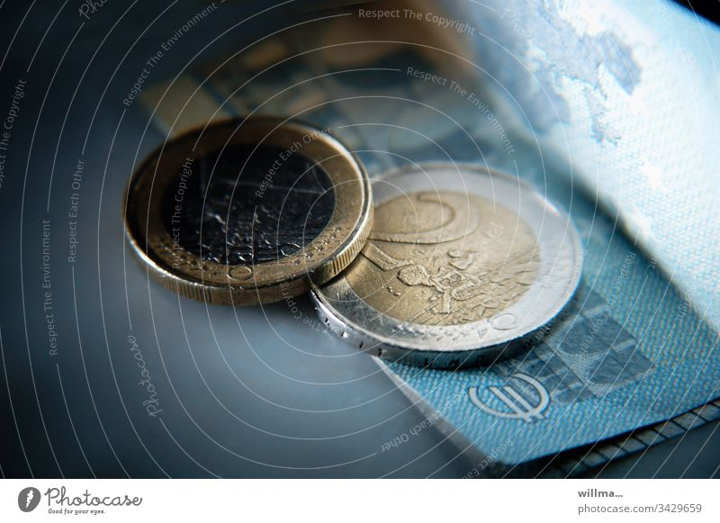 Euro coins and one banknote Money Coins Bank note Financial Industry Loose change Save Income Luxury Economy Paying Budget assets investment 2 Euro 1 Euro