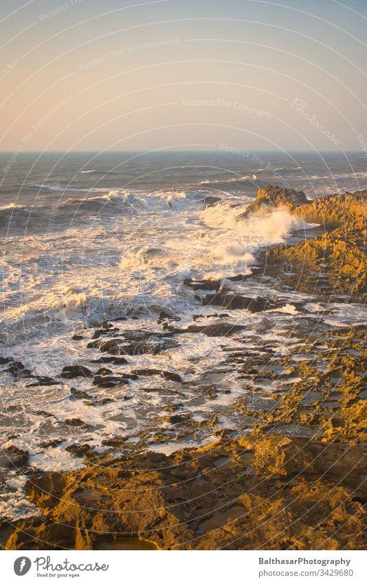 North Atlantic - coast - waves Atlantic Ocean Africa Morocco Essaouira Waves Foam stormy Massive Nature Horizon Rock Coast Atlantic coast Force of nature Sunset