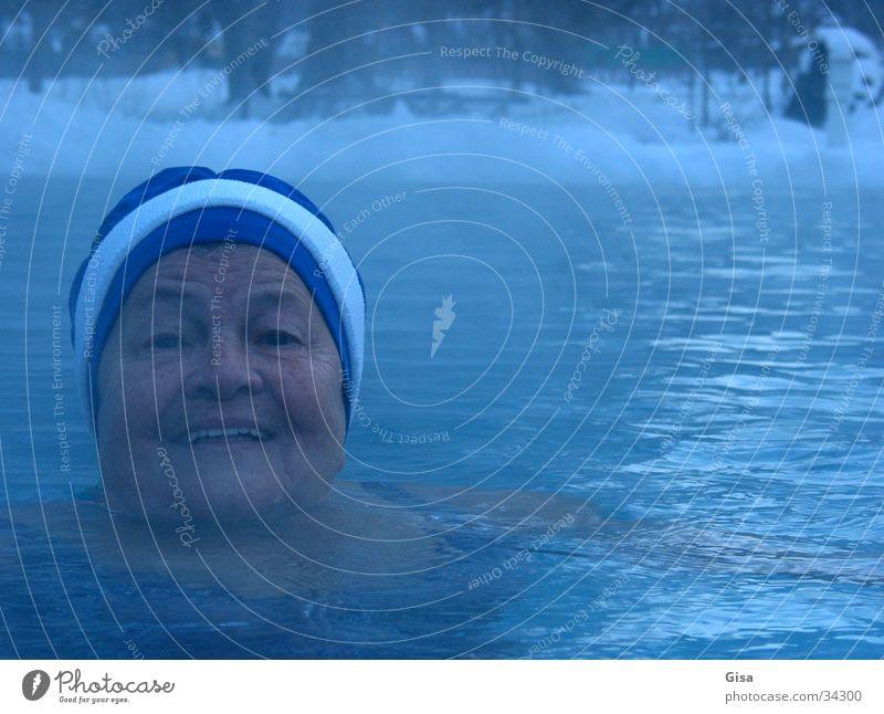 free swimmer Relaxation Fresh Woman Portrait photograph Winter Cold Fog Swimming & Bathing Joy Snow Fitness Bathing cap Harden Healthy Cure Lake Senior citizen