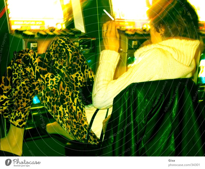 Woman Relaxation Playing Happy Search Success Concentrate Casino Vending machine