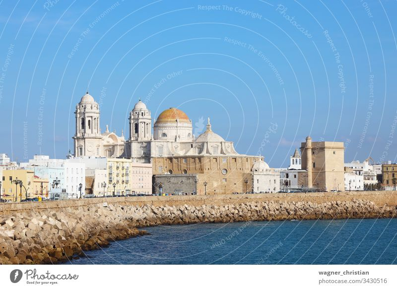 Cadiz cadiz cityscape promenade seafront view town cathedral shore seaside summer water andalusia spain europe travel architecture tourism spanish landscape