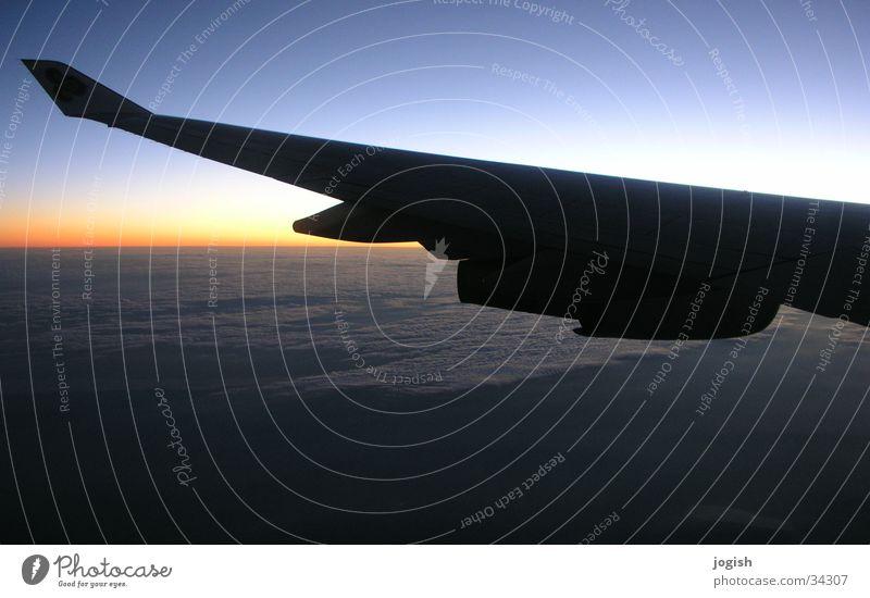 Sky Sun Blue Vacation & Travel Clouds Landscape Orange Horizon Aviation Wing Progress Airplane